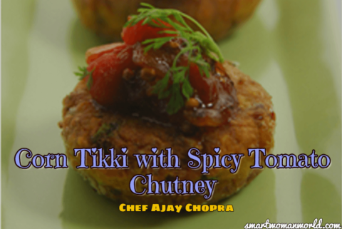 Corn Tikki With Spicy Tomato Chutney