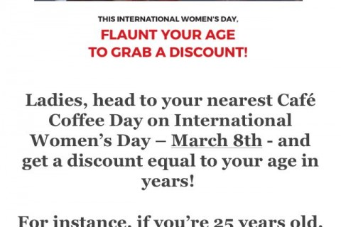 Cafe Coffee Day Discount on Womens Day