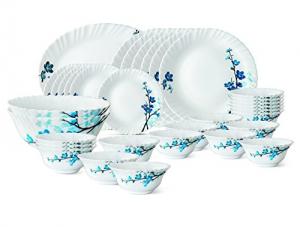 Larah By Borosil Mimosa Gl Dinnerware Set 33 Pieces White